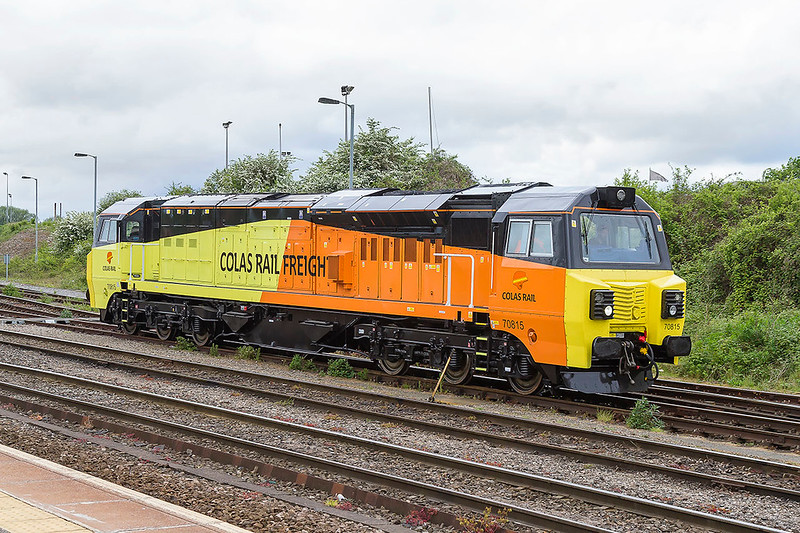 12th May 2017: Just a record shot of my first sighting of 70815 as it moves down the yard at Westbury at the start of it's trip to Cardiff Canton