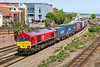 10th May 2017:  4O35 is the |Birch Coppice to Southampton service.  Today powered by DBC 66128 it is pictured from the Grosvenor Road bridge as it leaves Eastleigh