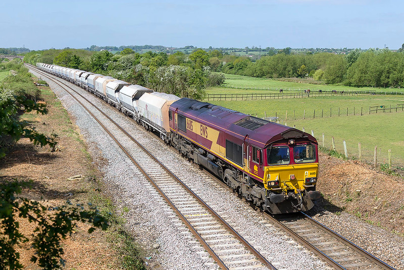 8th May 2017:  A view that has recently been made available again is looking west from the Fairwood Road bridge.   66115 on the point of 6M20 from Whatley to tghe  Churchyard Sidings in St Pancras