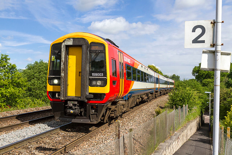 19th May 2017:  I have always liked the SWT livery and will be very sad if it goes when the franchise changes. 159003 in the original version is climbing through Dilton Marsh as it works 1O32 the 08.51 from Bristol Temple Meads to Waterloo