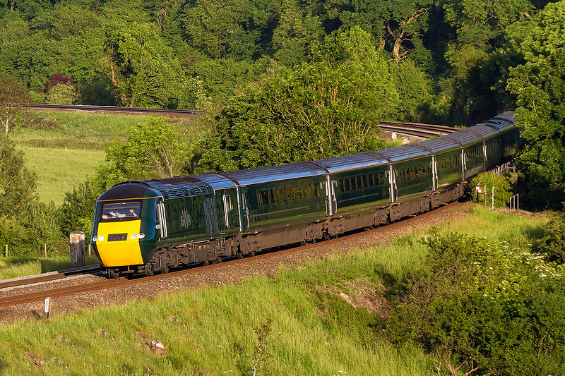 27th May 2017:  At 7.50 pm and in beautiful light the 'Weymouth Wizard 'rounds the curve and over the River Avon at Freshford.   1V72 is in the capabale hands of 43093 on the front and the Welsh Dragon branded 43187,  hiding behind the  trees, on the end.  The other way round would have been better, still shouldn't grumblle.