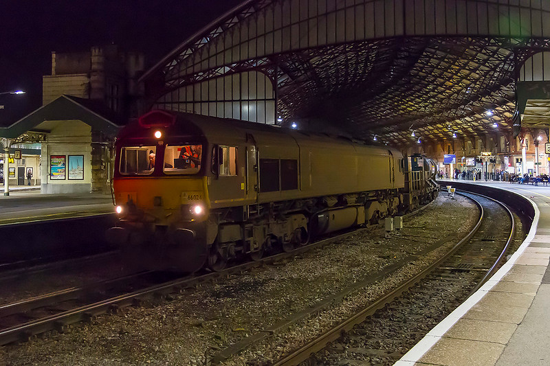 10th Now 2017:  A very dirty 66024 and the first shed to be painted into Schenker red 66152  stand in Bristol Temple Meads with 3J39.   This working includes going to Chippenham, Westbury, Gloucester, Western Super Mare and a large selection of the South Wales Valleys