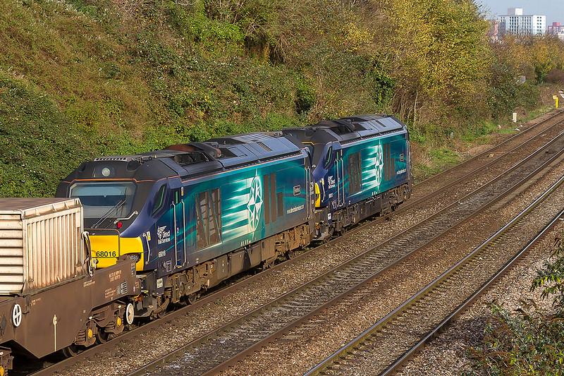 1st Nov 2017:  68016 'Fearless' is  tucked inside 66017 on 6M63s return to Crewe from Bridgewater