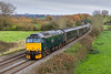 21st Nov 2017:  Running swiftly through Great Cheverell is 57602 'Restormal Castle' with the Great Western Railway empty sleeper stock.  5C99 started from Old Oak Common and is heading for the Long Rock depot at Penzance