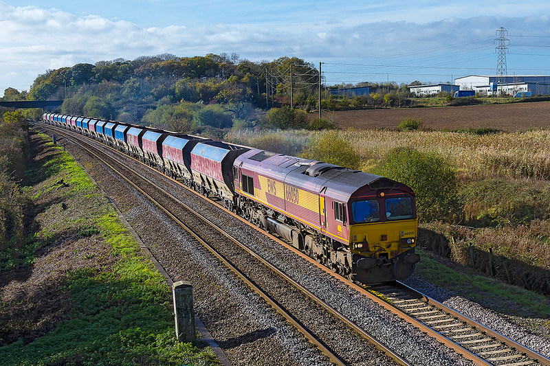 6th ov 2017:  66050 is rostered to work the Whatley Quarry to St Pancras Churchyard Siding stone service that is unusually coded as 4M20.  A look into the ex National Power hoppers explained why,  they were all empty!