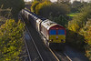 6th Nov 2017:    Suffering a horendous flat on the front bogie 66085  could be heard approaching for 3 or 4 minutes before it could be seen ar Edington.  6A83 is running from Avonmouth Bennets Siding to Theale