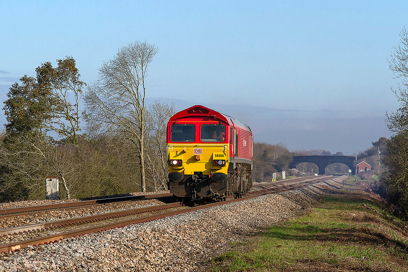2nd Nov 2017:  59205 is pictured as it trundles west away from Fairwood Junction and over the site of the Fairwood water troughs,  Not on RTT but was working to Whatley Quarry and may have later worked to Dagenham