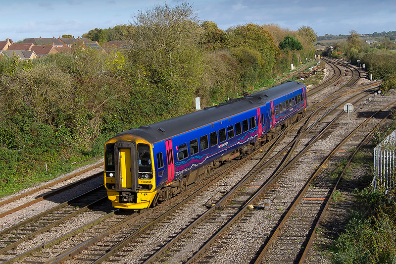 20th Oct 2017:  Arriving right time at Westbury is 158763 with 2F97 the 08.50 from Great Malvern to Westbury.  t is almost pleasant to see a unit in  the old blue livery rather than the new 'sludge' scheme