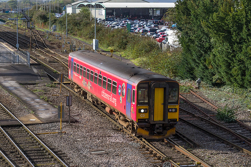21st Oct 2017:  2M55 is the 11.37 westbury to Swindon.  Today it is the hands of 153325 that is still  in the attractive 'Citizen Rail' livery though for how much longer I would not like to guess