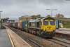 23rd Oct 2017:  66591 is standing on the Up Main Line at Swindon with 4O70 from  Wentloog to Southampton.  This train is booked to wait here for 26 minutes to let other services to over take but often, as it did today, waits rather longer if things are running late.  Just visible  on the right is the nose of IET 800004