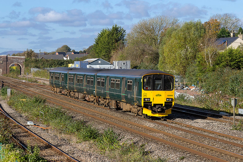 27th Oct2017:  Scooting through Magor is 150002 which is forming 2C73 the 10.59 Cardiff Central to Taunton