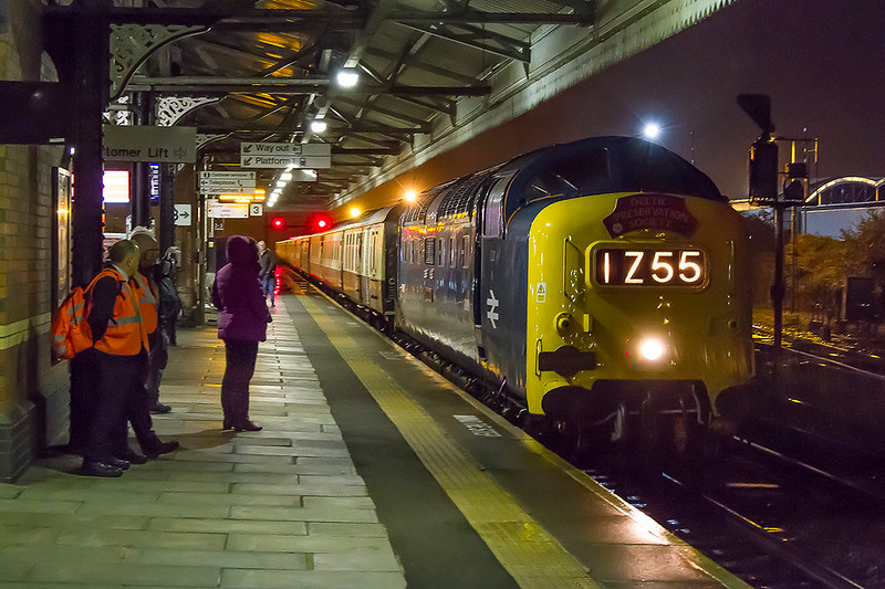 21st Oct 2017:  The Patfinder Tours trip to Swanage from Burton on Trent was powered by Deltic D9009 55009 'Alycidon'.  The outward leg was routed via Southampton but the return came through Westbury.  On an awful evening it was running 42 minutes late  as it slowed to stop for a crew change.  Shot settings were;  Canon 17-85 1/15 @ f7.1  at 44mm.   iso 6400
