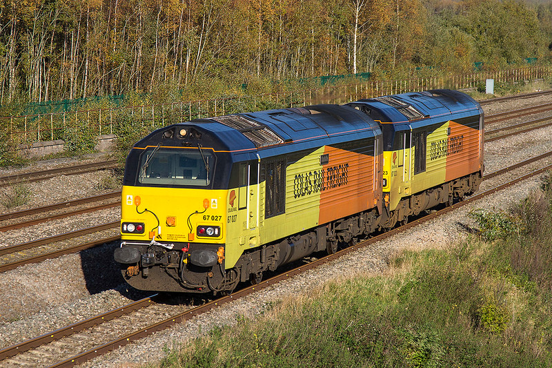 27th Oct 2017:  The Colas 67s are used on Network Rail test trains.  Here 67027 & 67023 are at Undy as they work from Derby RTC to Cardiff Canton Sidings