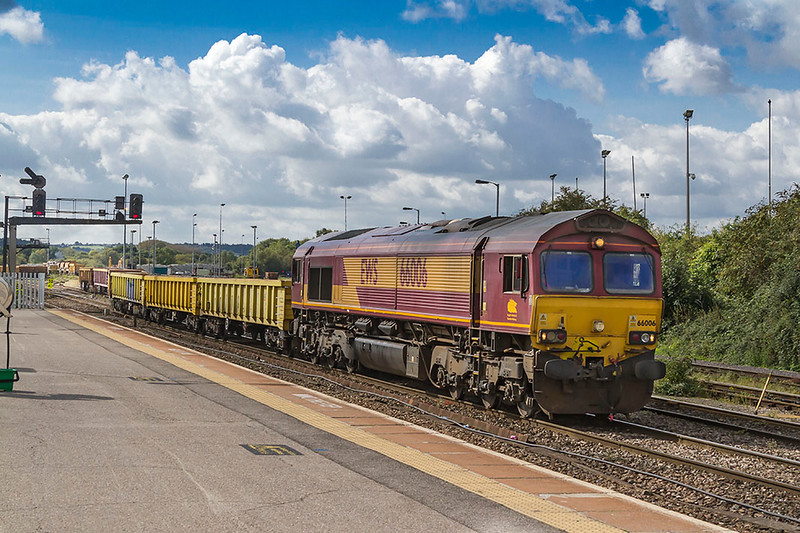 19th Sep 2017:  Acting as the Westbury shunter 66006 drags a long rake of JNAs out of the Up Yard.  It was preparing to push the wagons across to the Down Yard.  Perhaps they were to be taken to Eastleigh on the next departmental service