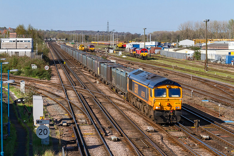 18th Apr 2018:  Running on the Down Through line at Eastleigh is 66758 on the point of 4Y19 from Mountfield to Southampton empty Gypsum containers