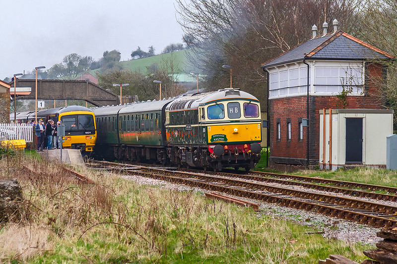 13th Apr 2018:  With Class U 31804 now on the rear of 5Z42  D6515 now gets under way from Maiden Newton and makes for Weymouth.  It had been waiting in the station for 166211 working 2V93 from Weymouth to Bristol Temple Meads to clear the section from Dorchester