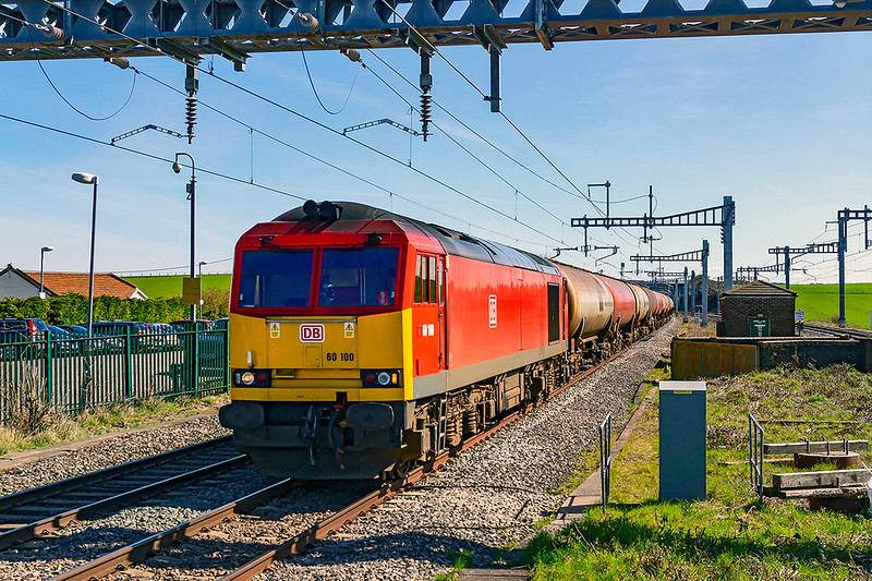 5th Apr 2018:  Running over the site of a double crossovers from Mains to Reliefs 60100 isat Cholsey as it workd 6B33 empty tanks from Theale to Robeston