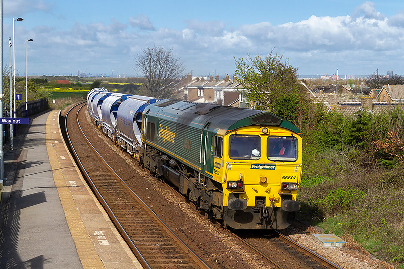 24th Apr 2018:  Powering up the hill through Marske is 66502 on the point of 6F23 the 09.48 from Tees Dock to Boulby Mine. The mine produces Pot Ash which is mainly used in Fertilisers.