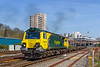 18th Apr 2018;  With all the containers out of sight Freightliner 70002 runs through the statlon at Southampton as it works 4O49 from Crewe Basford Hall to Southampton Maritime Container Teminal.