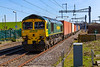 5th Apr 2018:  Thundering through Cholsey is 66537 leading on 4M61 the 13.00 from Southampton Maritime to Traffird Rark in Manchester