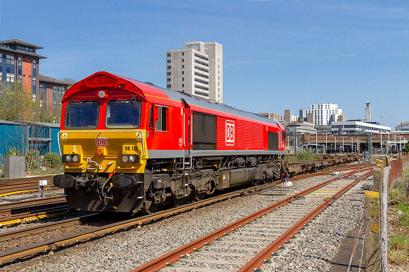 18th Apr 2018:  Newly repainted 66135 runs through Southampton central as it works the 05.35, 4O43, from Wakefield Europort to Southampton Western Docks Berth 109.  A shame that the containers ere all at the rear of the train