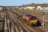 18th Apr 2018:  Puling out of the Eastleigh East Yard after a booked lay over is 66076.  The working is 4O21 from Manchester Trafford Park
