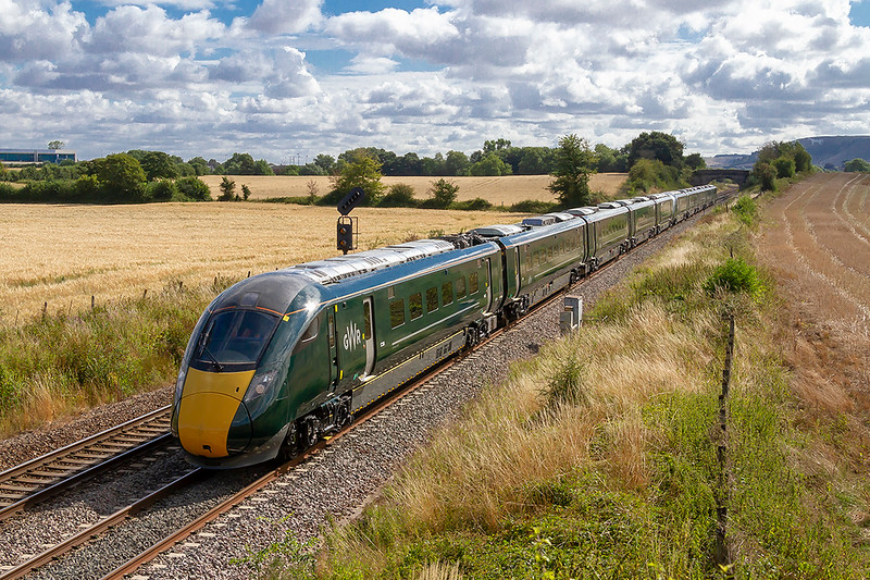 8th Aug 2018:  Leaving Westbury are 802008 and 802007 working 5Z12 from Stoke Gifford to PLymouth.  No unit numbers are visible on either set