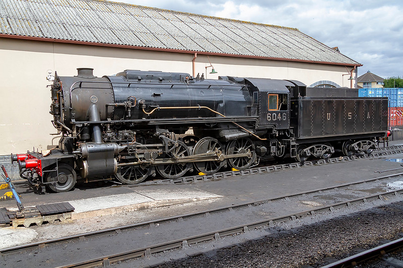 1st Aug 2018:  Resting at Minehead is 6046 a USA Class S160 2-8-0 freight locomotive. United States Army Transportation Corps loco build during the 2nd World War for use in Europe.  A number were used by the GWR before being sent to Europe