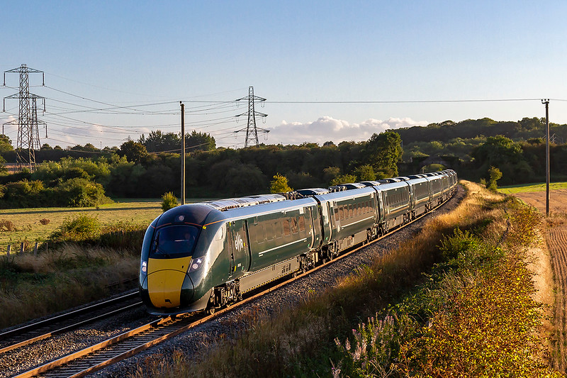 16th Aug 2018:  Having worked from Paddington to Frome as 1J91 800310 is now accelerating away from Clink Road Junction through Berkley as returns to Paddington as an ECS