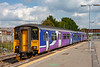 31st Aug 2018:  Northern liveried 150207 is leaving Westbury with 2M10 the 12.20 to Swindon.  Unfortunately the morons have grafitied the leading three quarters of the set.