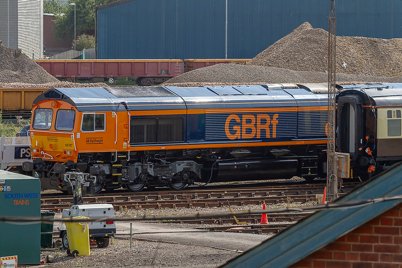 7th Aug 2018:  Repainted and ready to enter traffic is DBCargo 66184 that is now part of the GBRf fleet and renumbered  66787.