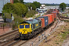 7th Aug 2018:  After a crew change stop 66585 starts away from Eastleigh Station as it works 4O15 from Lawley Street to Southampton Maritime Container Terminal