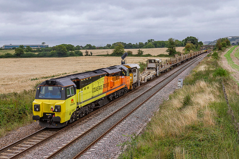 19th Aug 2018:  Bringing up the rear of 6C97 from Exeter Cowley Bridge Junction to Westbury is 70804.  Providing the urge is 70802