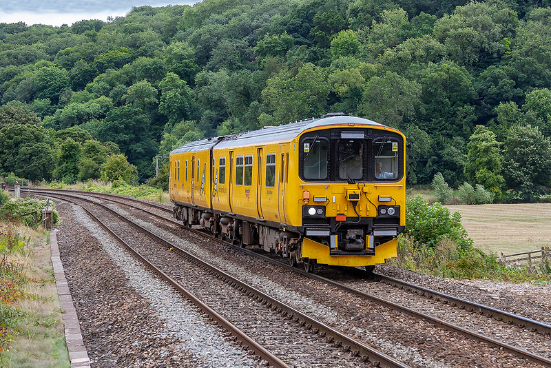 14th Aug 2018:  Network Rail 950001 (the number is on the other end) is crossing the River Avon as it nears Freshford station. 2Q08 is the 13.55 from Westbury to Burton OT Wetmore Sidings. Earlier it had run to Westbury from Reading Triangle Sidings via the Berks & Hants line