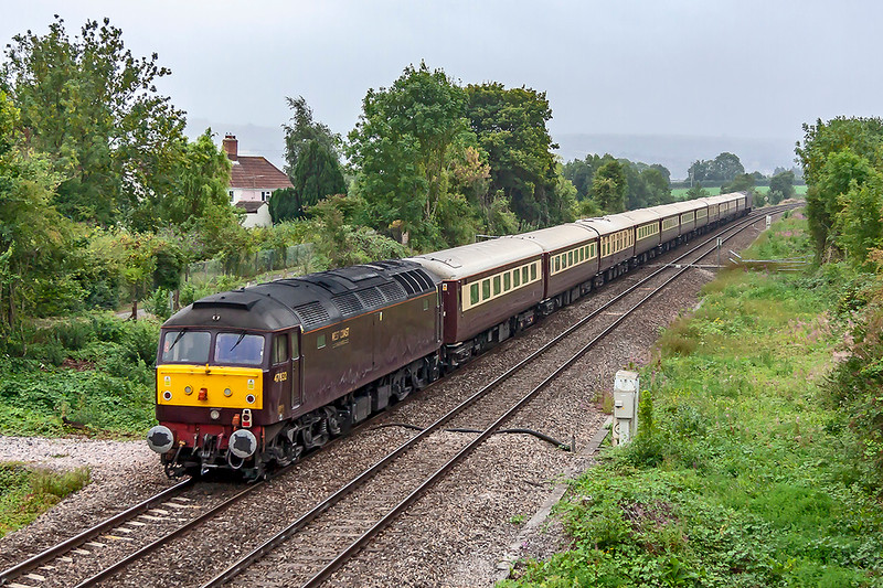 12th Aug 2018:  47832 brings up the rear of  the Northern Bells as it works 1Z36 from Swindon to Paddington via Newbury.  It later will lead when the empty stock goes to Carnforth