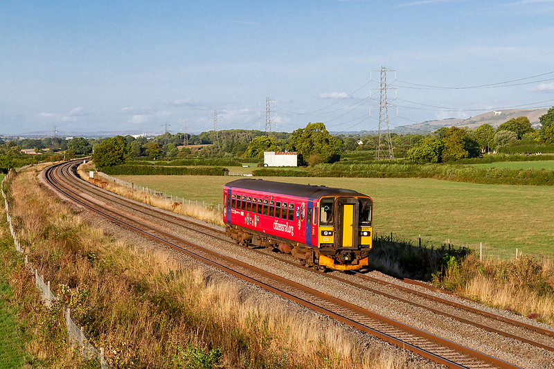 16th Aug 2018:  Usually a 2 or 3 car set is used for 2O97 the 16.40 from Gloucester to Weymouth but today it is formed of 153325 CitizenRailOrg.  The location is Pot Lane in Berkley near Clink Road Junction
