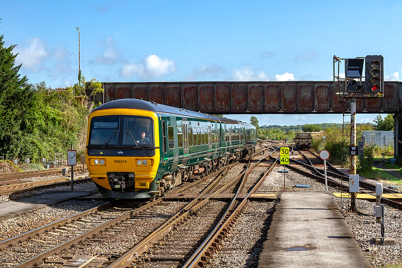 25th Aug 2018:  166214 is about to enter platform 2 at Westbury as it works 1C72 the  9.08 from Bristol Temple Meads to Weymouth