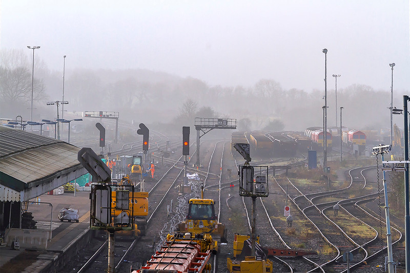 28th Dec 2018:  In the distance on the left are three new 'Lollypop' signals that are 70 yards further away than those that they replace.  This is to allow space for the platforms to be extended.