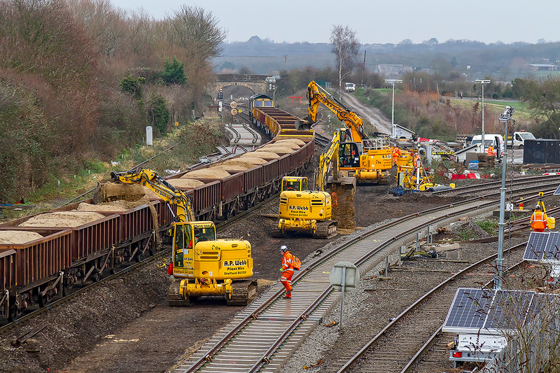 25th Dec 2018:  Sand being laid to protect the under the ballast film from sharp objects in the ground