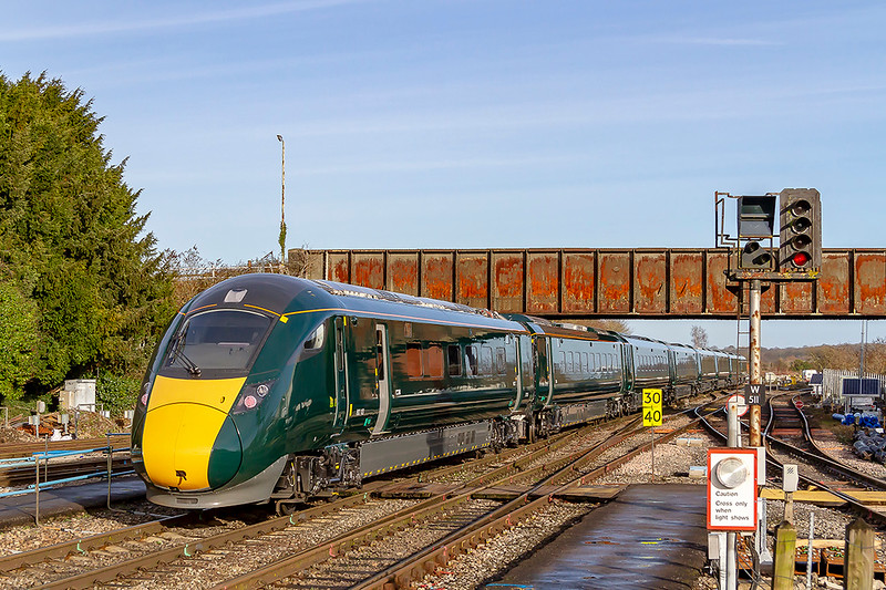 17th Dec 2018:  802103 is running through Westbury and heading towards Trowbridge. 5Z21 had originally started from Stoke Gifford at 6.39 as 5Z20 going tp Swindon and then Tiverton before reversing in the Highbridge Loop.  Now as 5Z21 it is going to Reading where it will reverse again and return to Stoke Gifford