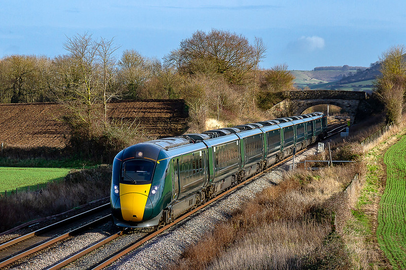 7th Dec 2018:  1C77 the 10.33 Paddington to Paignton has now become regular IET  8003 working.  Today it is 800304, running rather late of course, pictured as it  leaves Westbury  nand nears Fairwood Junction