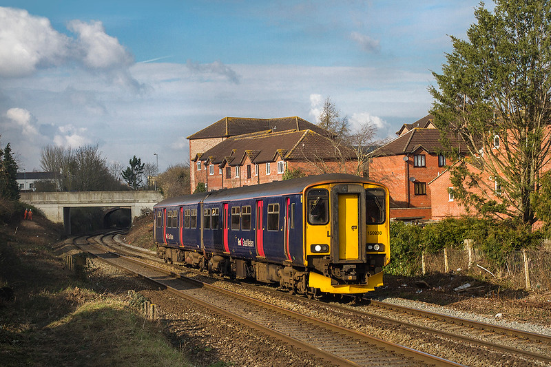 6th Feb 2018:  150238 leaving Trowbridge with 2O89 the 10.42 Gloucester to Weymouth.  Pictured from the footbridge accessed from Dursley Road.