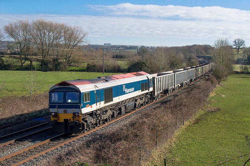 17th Feb 2018:  Running doewn the grade through Great Cheverell is 59104 as it works 6C58 from Oxford Banbury Road to Whatley quarry