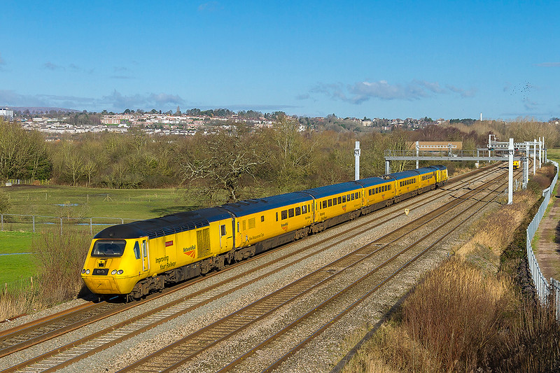 2nd Feb 2018:  43082 'John A Armitt' is at the rear of the Network Rail Measurement Train  as it runs east through Duffryn on its way to Derby,  It has started from Reading Triangle Sidings and had been first to Pddington and then to Swansea where it reversed.