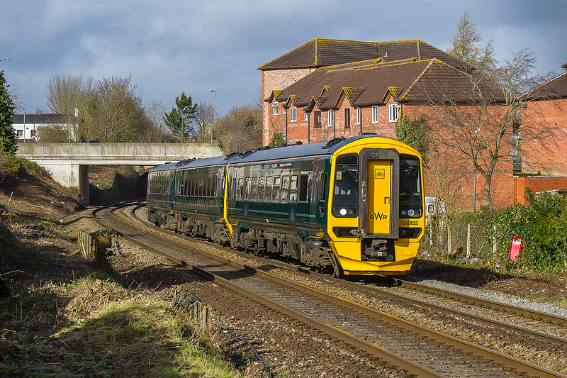 15th Feb 2018:  1F11 the 10.30 from Cardiff Central to Portsmouth Harbour is today trusted to 158950.  Pictured as it  leaves Trowbridge