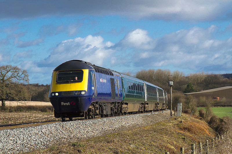 11th Feb 2018:   Nearing the top of the  five mile climb from Blatchbridge Junction as it nears Bunns Lane is 43126.  1C97 is the 0857 from Paddington to Plymouth.
