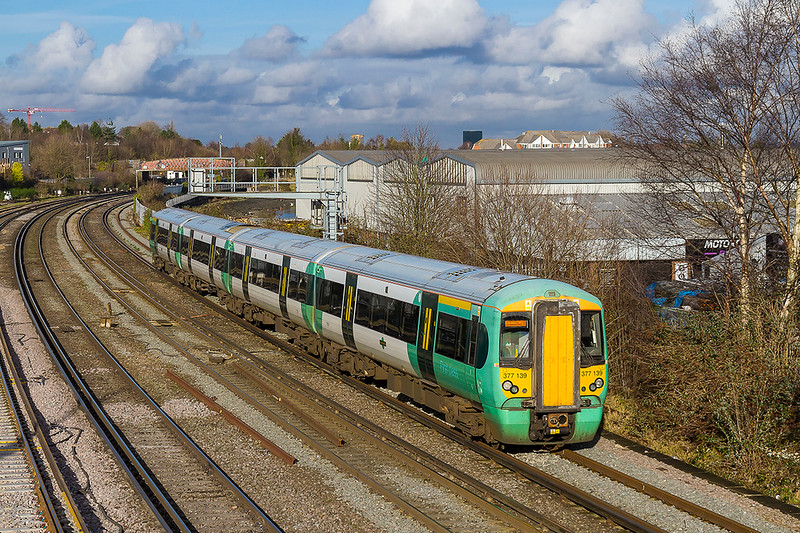 10th  Jan 2018:  377139 is working 1J66 the 11.36 from Victoria to Southampton Central.  It is on time as it leaves the station at St Denys