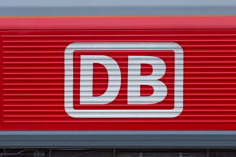 8h Jan 3018:  The non standard DB logo that is applied to 66055 'Alain Thuavette'.  This loco is named after one of the people involved in the organisation  of the company when it took over EWS.