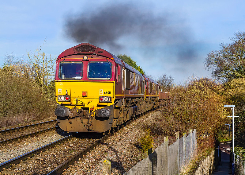30th Jan 2018:  Obviously working very hard up the grade through Dilton Marsh 66011  has 66093 tucked inside as it hauls 7O41 from Westbury to Eastleigh