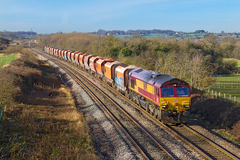 30th Jan 2018:  Here it is again, 6M20 from Whatley to Churchyard Sidings at St Pancras with the RMC rust buckets in tow.  This time 66093 is providing the urge  and is pictured as it runs between Fairwood Junction and Westbury Station